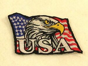 Eagle and flag White on black Small Patch for Biker Vest SB756