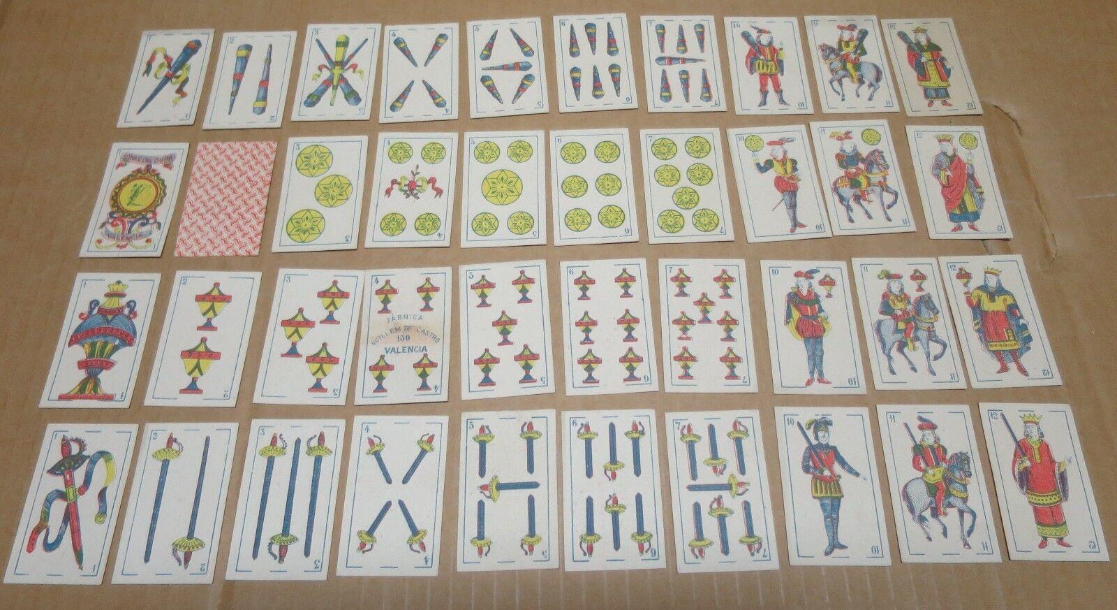 CARTES A JOUER  enseignes latines jeu complet de 40 cartes Valencia Espagne