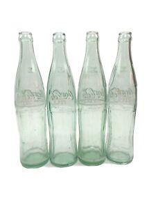 LOT OF 4 VINTAGE COCA COLA SODA GREEN GLASS BOTTLES 16 OZ 1 PINT BOTTLE USA