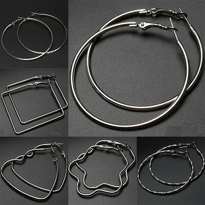 Women Silver Large Hoop Earrings Twisted Thin Metal Rope Big Hoops Jewelry Gifts