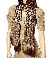 Brown Animal Print Scarf Cheetah Snake Skin Crinkle Soft Fabric