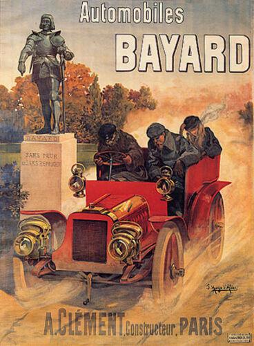 CAR SPEEDING AUTOMOBILES BAYARD CLEMENT PARIS FRENCH VINTAGE POSTER REPRO