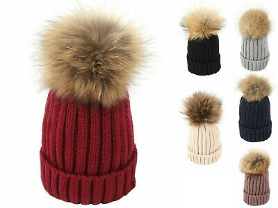 New Kids Childrens Real Raccoon Fur Pom Pom Rib Knitted Winter Bobble Hat Beanie