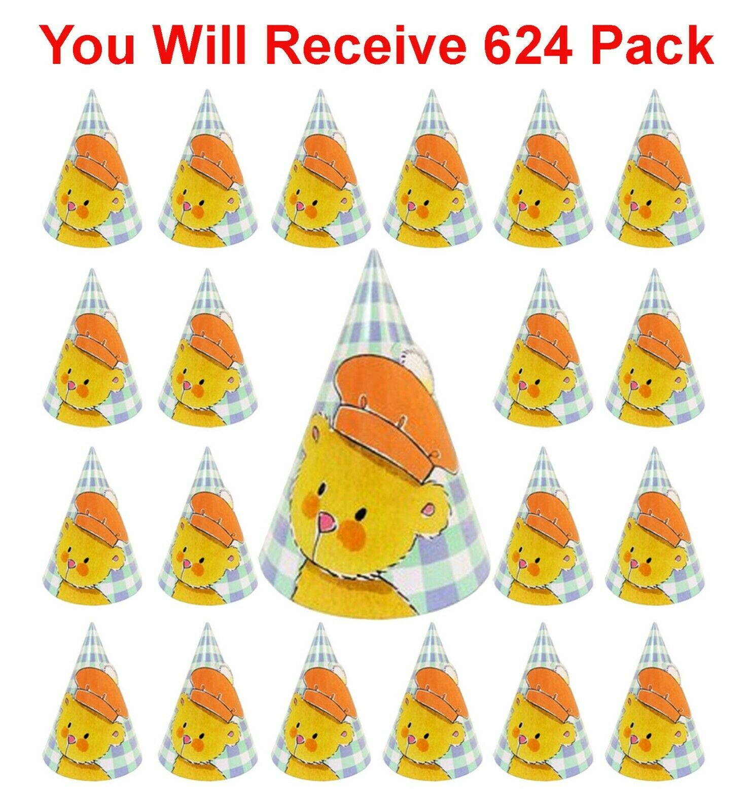 624ct Party Hats Teddy Bear Party Favors Kids Birthday Celebration Paper Cone