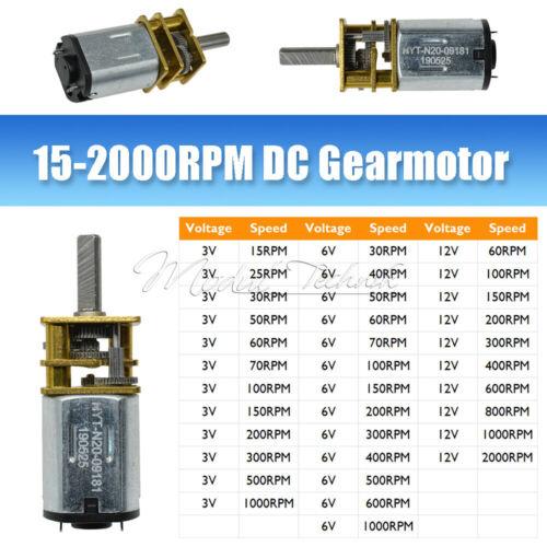 GA12-N20 DC 3V//6V//12V Micro Electric Gear Motor Speed Reduction Metal Gearbox