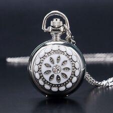Silver Flower Fashion Quartz Pocket Watch Necklace Pendant Women Lady Gift UK
