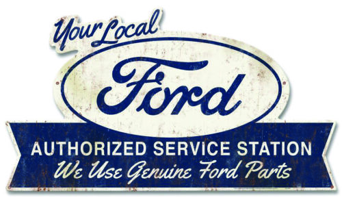 """TINFORAS 27/"""" X 16/"""" Local Ford Parts Service Station Vintage Style Steel Sign"""