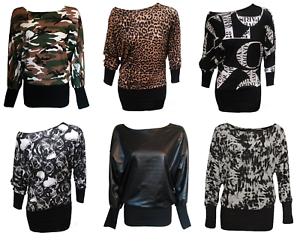 New Ladies Women/'s Army,Leopard,Wetlook Printed Long Sleeve Batwing Top Plus8-26