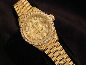 f30d9161cef Image is loading Ladies-Rolex-Datejust-President-18K-Yellow-Gold-Watch-