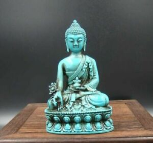 Collectible china Old Decorated Turquoise Sakyamuni Medicine Buddha Statue