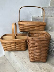 Large-Longaberger-Baskets-Lot-Of-3-1990-039-s-Signed-Dated