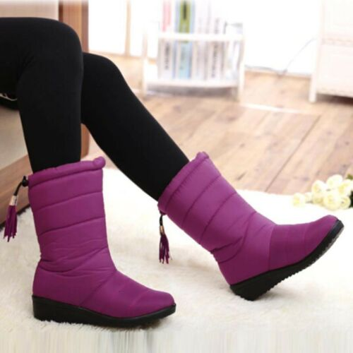 Femmes Hiver Neige Bottes Mi-Mollet Doublure En Fourrure Imperméable Chaussures Compensées 2018