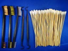 """5 pc set for Hand Gun Rifle Shotgun 3pc Brush 2 Picks + 100 7"""" Cleaning Swabs"""