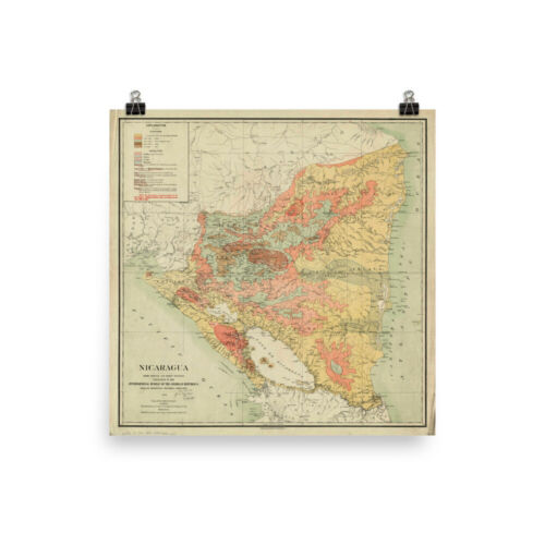 Vintage Central America Country Atlas Poster Old Nicaragua Map 1903