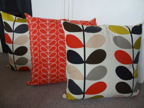 "ORLA KIELY /""MULTI STEM/"" fabric HUGE floor cushion cover TOMATO linear stem back"