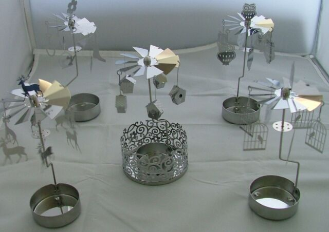 Filigree  Spinning Tealight holder carousel- Owls, deer, birdcage, gardening etc