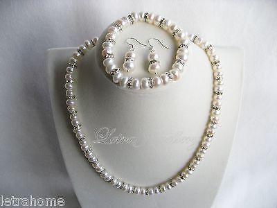 Véritable Naturel 7-8 mm blanc Akoya Cultured Pearl Collier Bracelet Boucle D/'Oreille Set