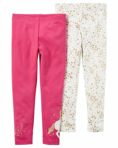 New Carter/'s Girls 2 Pack Leggings Pants Unicorn Gold Glitter Stars NWT 2T Girl