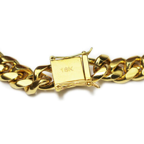 18k Collar Cadena de oro plateado cubano de Miami 12 Mm x 30 in approx. 76.20 cm de largo