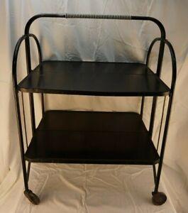 Vintage-MCM-Folding-Wheeled-Serving-Cart
