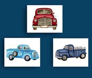Image Is Loading Vintage Trucks Boy Nursery Wall Art Print Transportation