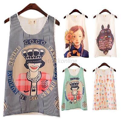 Summer Women Chiffon Cartoon Print Vest Tank Top T Shirt Sleeveless Shirt Blouse