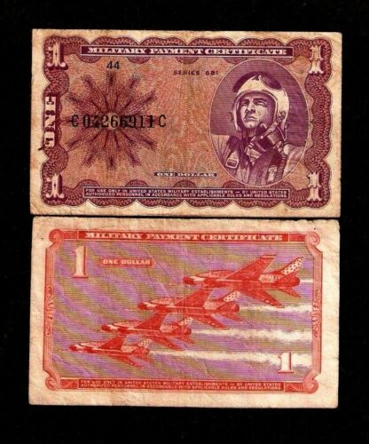 UNITED STATES USA 1 DOLLAR P M79 1969 MPC MILITARY SERIES 681 FIGHTER PLANE NOTE