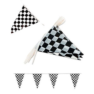 Black-White-Checkered-Flags-Party-Banner-Pennant-Car-Racing-Boy-039-s-Birthday-Decor