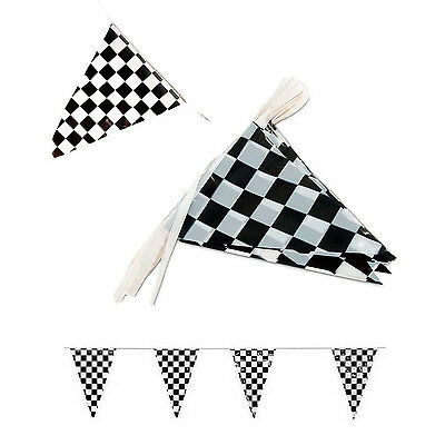 JPSOE 2pcs 50ft Black and White Pennant Banner Racing Flags 10 Checkered Flags