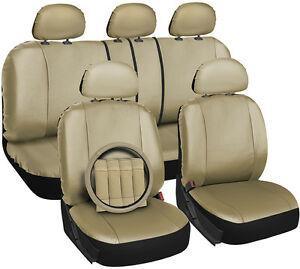Faux Leather Beige Seat Cover for Toyota Corolla w/Steering Wheel/Belt/Head Rest