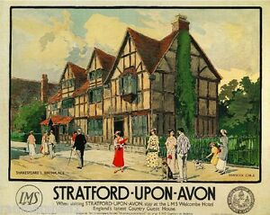 Stratford Great Britain Vintage Travel Advertisement Poster Picture Print
