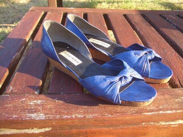 Último gran descuento Scarpe donna GIORGIO ARMANI ORIGINALI blu elettrico VERA PELLE N°38 cobalt shoes