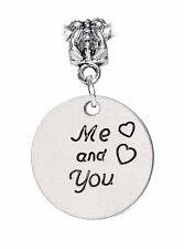 Me and You Girlfriend Wife Gift Hearts Dangle Charm for European Bead Bracelets