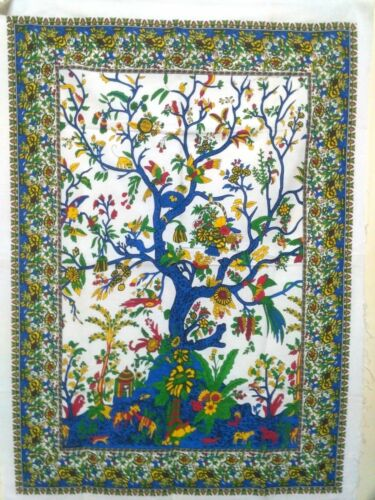 New Indian TREE OF LIFE Poster White Wall Hanging Cotton Home Decor Throw03