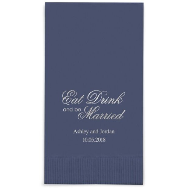 400 Eat Drink Marry Script Printed Rectangular Fold Wedding Dinner Napkins