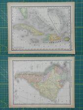 West Indies South America Vintage Original 1894 Rand McNally World Atlas Map Lot