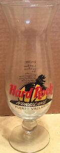 Hard-Rock-Cafe-PUERTO-VALLARTA-9-034-Hurricane-Glass-w-HRC-Logo-Palm-w-DRINK-RECIPE