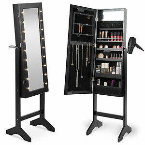 Image Is Loading Beautify Black Full Length LED Makeup Jewellery Organiser