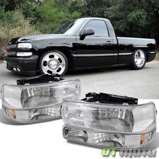 99-02 Chevy Silverado 00-06 Tahoe Suburban Headlights+Bumper Lights Left+Right