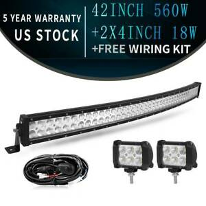 42inch-560W-Curved-LED-Work-Light-Bar-Flood-Spot-Combo-with-Wiring-Harness-Kit