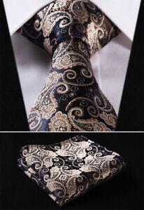 Mens-Tie-Brown-Gold-Black-Woven-Ties-Necktie-Wedding-Silk-Handkerchief-Paisley