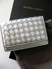 Bottega Veneta NWT NIB Metallic Silver Grosgrain Nappa Intrecciato Flap Wallet