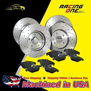 Front+Rear Drilled Slotted Rotor /& Ceramic Pad kit For 05-10 Honda Odyssey
