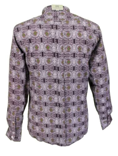 Relco Platinum Purple//Grey Retro Print 100/% Cotton Shirt … …