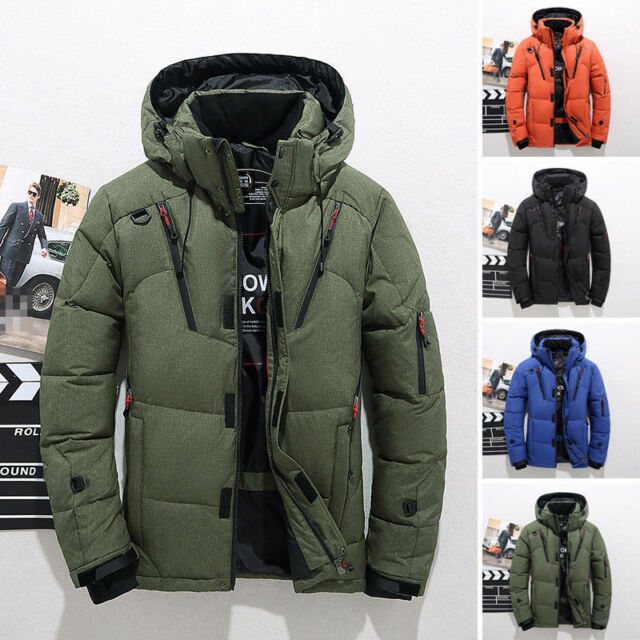 cost charm new cheap authorized site Men's Winter Warm Duck Down Jacket Ski Jacket Snow Hooded Coat Climbing  Oversize