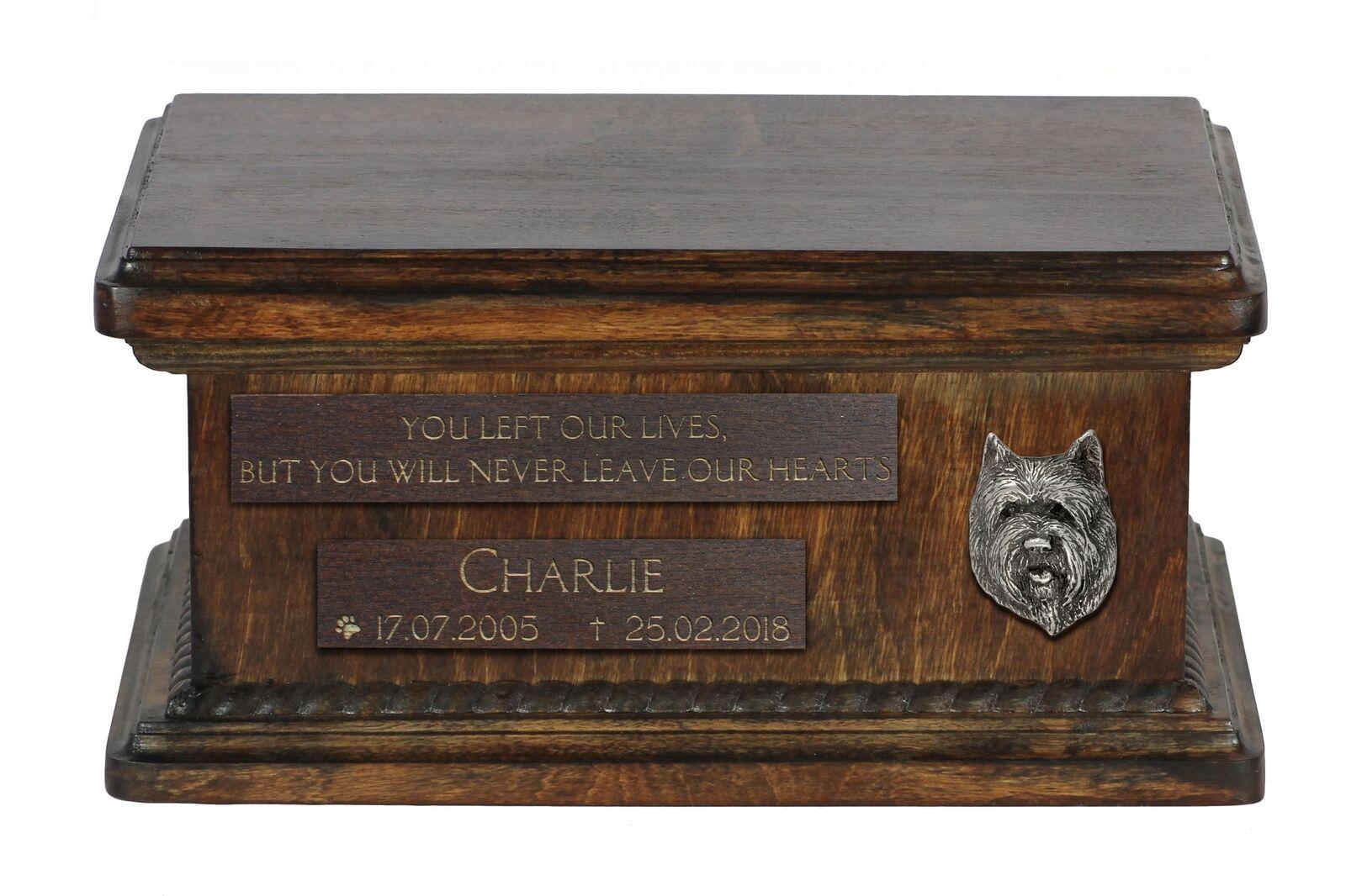Cairn Terrier (2) - wooden urn for dog's ashes, low model, Art Dog
