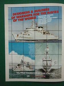 12-1982 PUB VOSPER THORNYCROFT WARSHIP NAVIES DESTROYERS FRIGATE VESSEL AD ghDyi83g-08014916-795390639