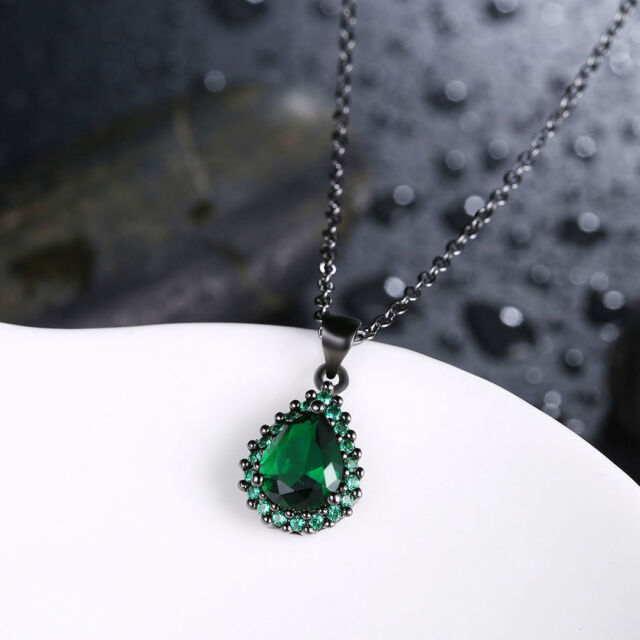 """18K White Gold Plated Shaped Created Emerald Gemstone Pendant Necklace 18"""" Chain"""