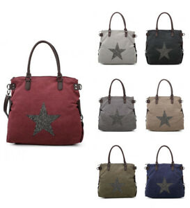 New-Womens-Large-With-Glitter-Star-Patterned-Tote-Handbag-Crossbody-Shoulder-Bag