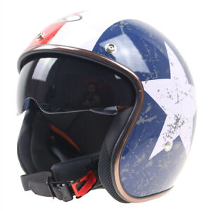 DOT-Vintage-Open-Face-Motorcycle-Helmet-w-Sun-Visor-Scooter-Street-Bike-Size-XL